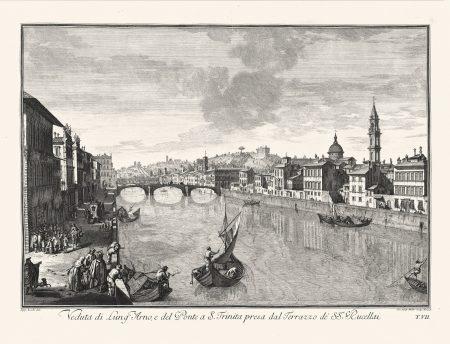Картина, Флоренция вид на реку Арно и мост св. Троицы