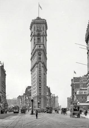 Манхэттен около 1908 года. Винтажная Америка.