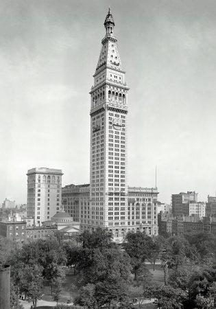 Нью-Йорк в 1909. Здание Метрополитен и Медисон сквер. Из серии винтажная Америка.