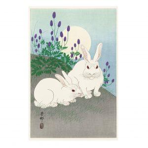 Принт (репродукция картины) Кролики при полной луне Охара Косон