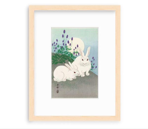 Вариант оформления картины Кролики при полной луне Охара Косон