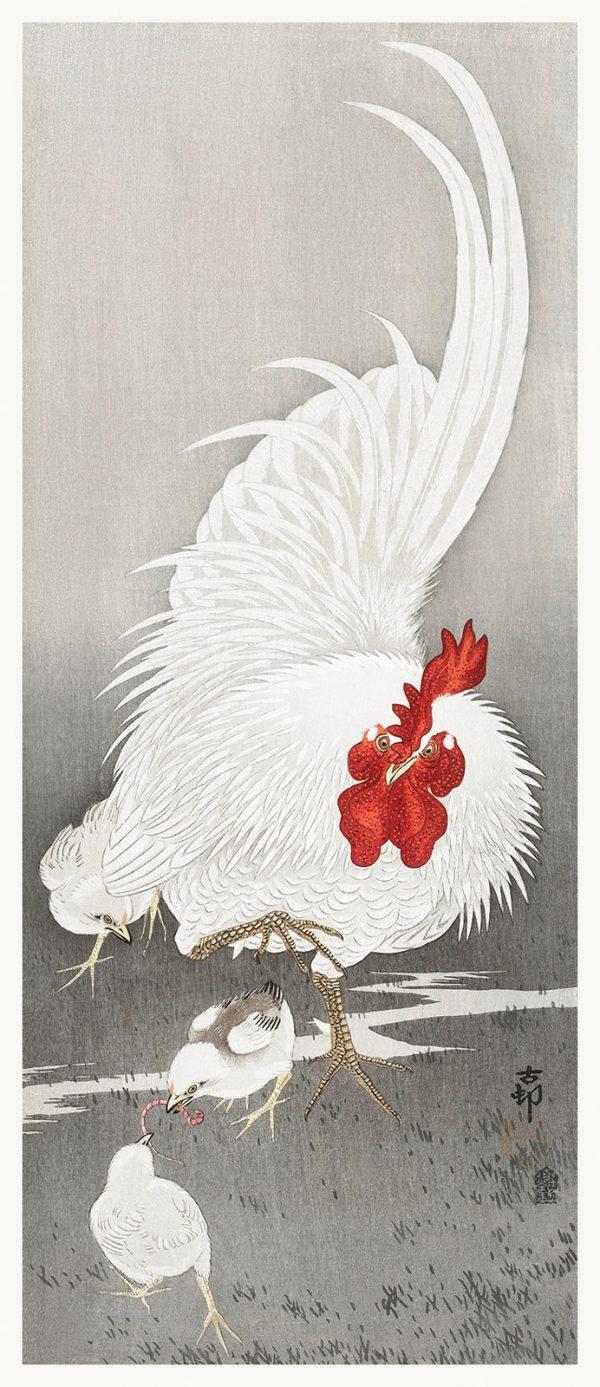 Картина Петух и три цыпленка Охара Косон