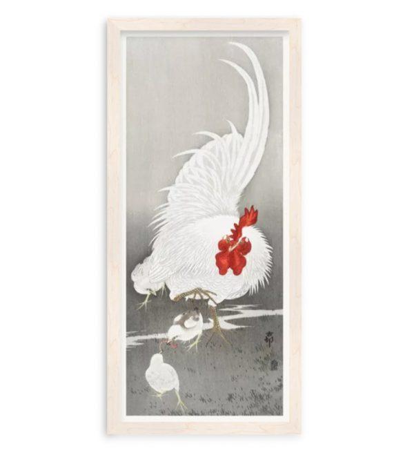 Картина в раме Картина Петух и три цыпленка Охара Косон