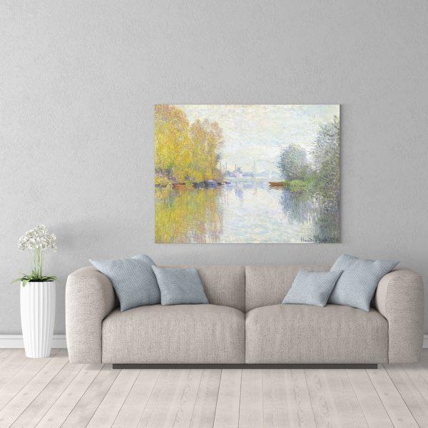 Репродукция 90х120см картины Моне Осень в Аржанте в комнате