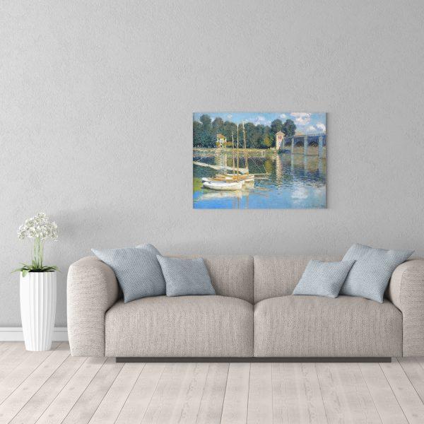 Репродукция Моне Мост в Аржанте 60х80 см в комнате