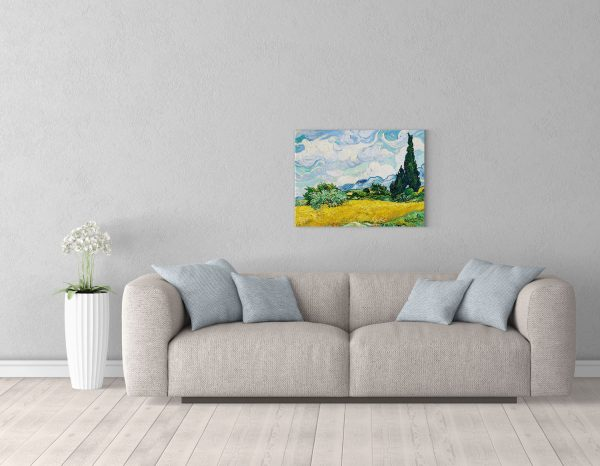 Картина Ван Гога размером 50*65см Пшеничное поле с кипарисом