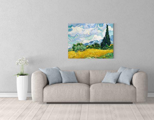 Картина Ван Гога размером 70*90см Пшеничное поле с кипарисом