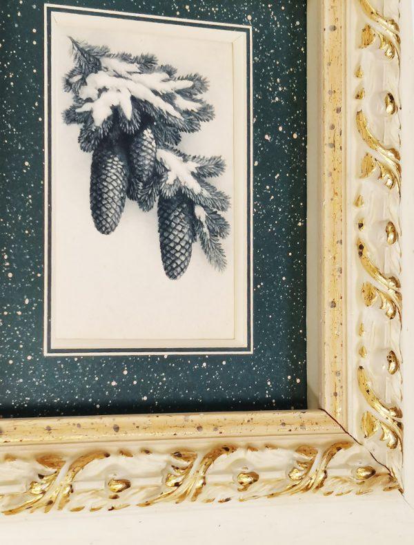 Винтажная открытка с Новым Годом в раме.