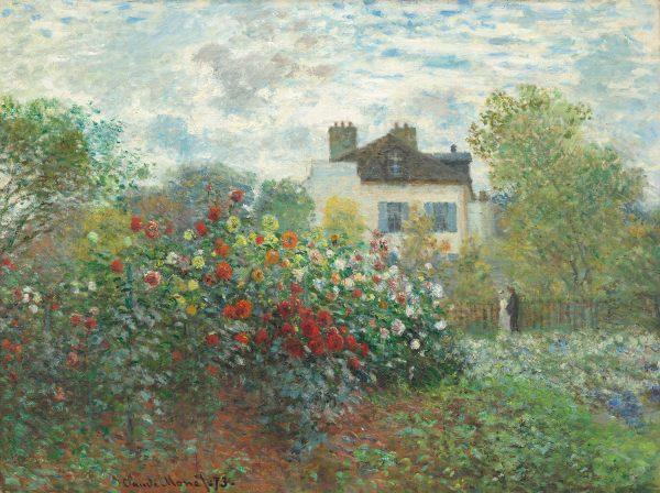the artists garden in argenteuil a corner of the garden with dahlias 1873 by claude moneet 1500
