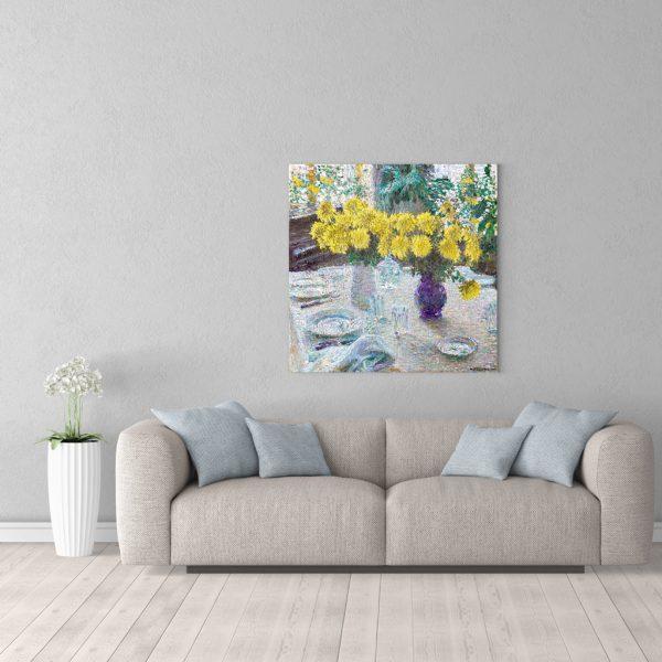 Картина для интерьера Грабарь Хризантемы 90 на 90 см